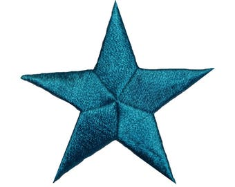 ID 3439 Teal Star Patch Symbol Space Night Sky Embroidered Iron On Applique