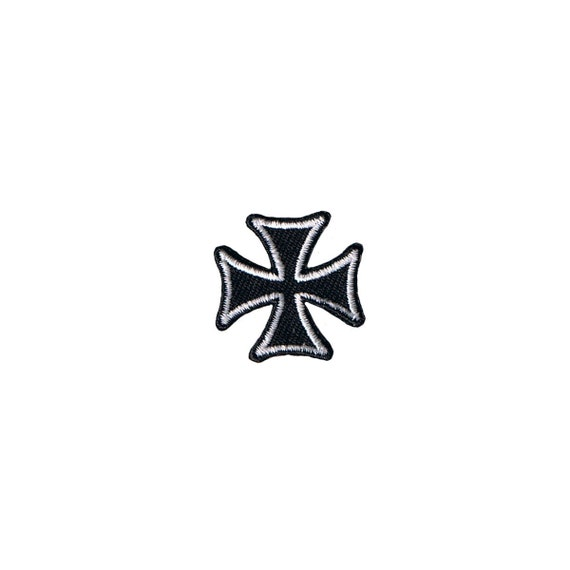 IRON CROSS BLACK /& RED PATCH Embroidered Maltese Gothic BADGE IRON-ON