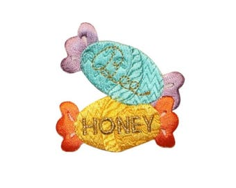 ID 1317A Pair of Bee Honey Candy Patch Candies Wrap Embroidered Iron On Applique