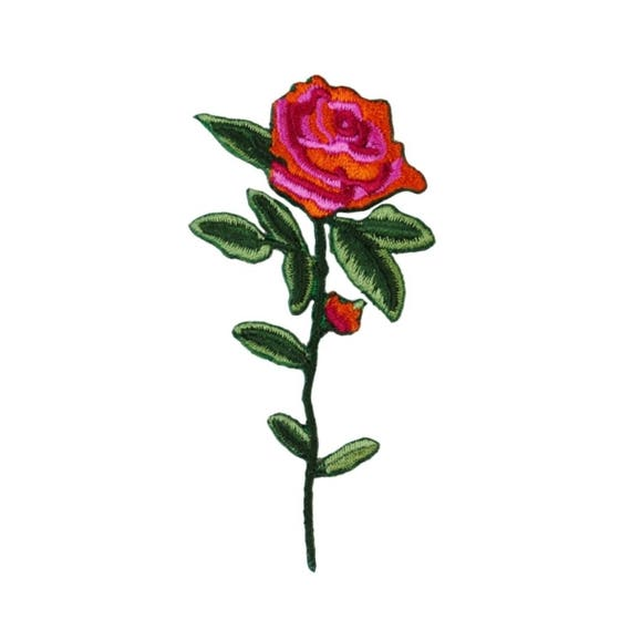 Red Rose w//Bud Flowers Gardening Roses Iron On Embroidered Patch