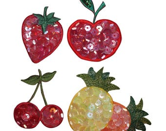 ID 1221A-D Set of 4 Assorted Fruit Sequin Patches Embroidered Iron On Applique