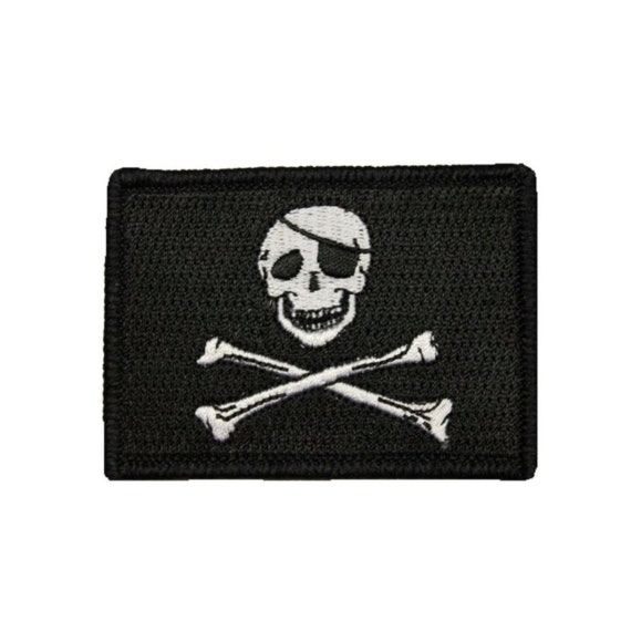 Iron-on Pirate Flag Patch JOLLY ROGER Skull Crossbone Shaped EMBROIDERED Outline