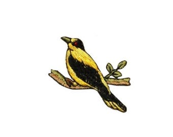 ID 0612B Finch Perched Patch Canary Swallow Branch Embroidered Iron On Applique