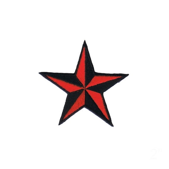 2 Inch Red Black Nautical Star Patch Tattoo Symbol Embroidered Etsy