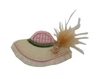 ID 7584 Sun Hat With Feather Patch Summer Fashion Embroidered Iron On Applique