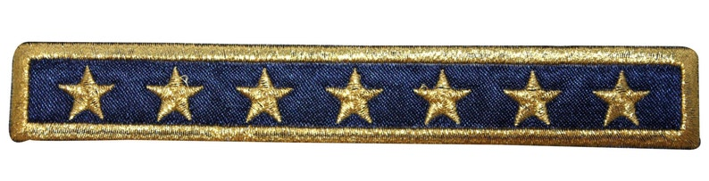 ID 9097 Navy Blue Seven Star Patch Strip Rank Embroidered Iron On Applique