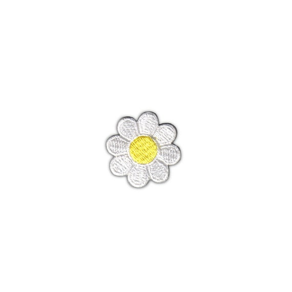 1 Inch Daisy Dark Pink Petal Yellow Center Patch Flower Embroidered Iron On