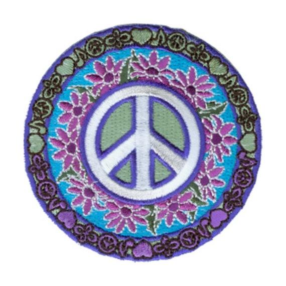 FLOWER PEACE SIGN Iron On Patch Love Peace Biker Woodstock Love Summer