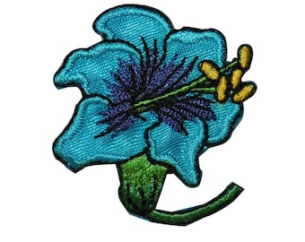 ID 6605 Blue Hibiscus Flower Patch Tropical Blossom Embroidered Iron On Applique