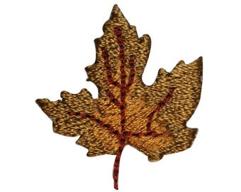 ID 1405 Dried Maple Leaf Patch Fall Autumn Leaves Embroidered Iron On Applique