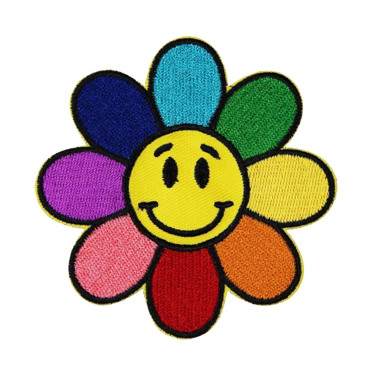Rainbow flower smiley face patch hippie happy cute embroidered etsy zoom izmirmasajfo