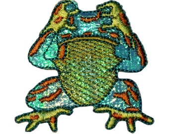 ID 0005 Colorful Frog Shiny Blue See No Evil Embroidered Iron On Applique Patch