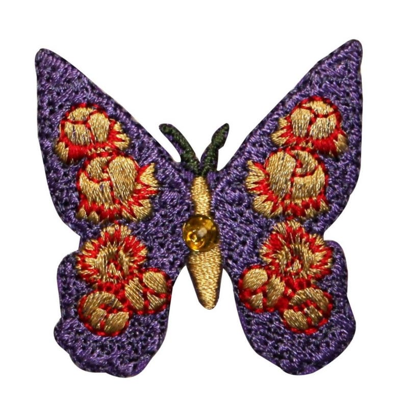 ID 2199 Floral Butterfly Patch Garden Bug Insect Embroidered Iron On Applique