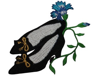 ID 7843 Black Heels With Flower Patch Shoe Fashion Embroidered Iron On Applique
