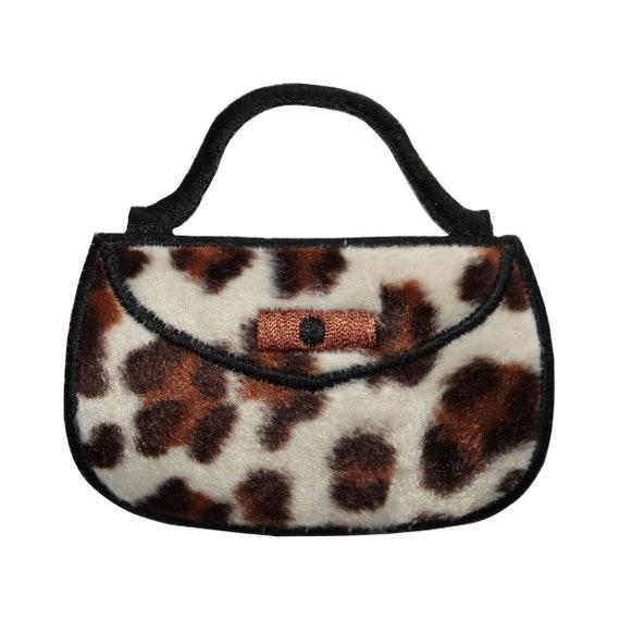 fbee7162669c ID 8369 Fuzzy Leopard Print Purse Patch Bag Fashion