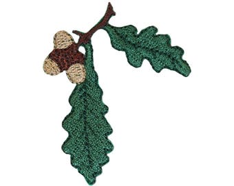 ID 1423A Oak Tree Leaves With Acorn Patch Festive Embroidered Iron On Applique
