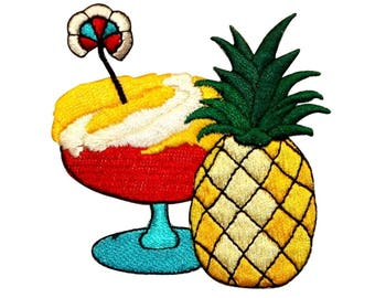 ID 1136 Pineapple Margarita Patch Hawaii Vacation Embroidered Iron On Applique