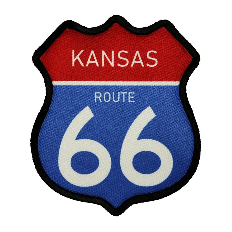 Route 66 Kansas Road Sign Patch Travel Road Dye Sublimation Iron On Applique