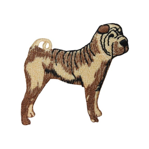 Shar Pei Iron On Embroidered Patch Black