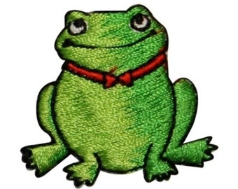 ID 0006C Green Frog w/ Red Bowtie Embroidered Iron On Applique Patch