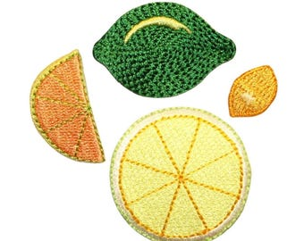 ID 1214A-D Set of 4 Assorted Fruit Patches Summer Embroidered Iron On Applique
