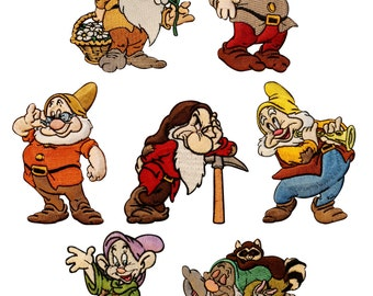 Disney Character Patch Set: 7 Dwarves of Snow White & the Seven Dwarfs Movie Iron On Applique Patches
