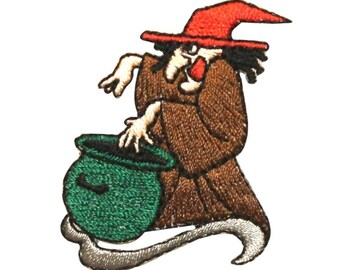 ID 0897 Witch and Brew Patch Halloween Cauldron Embroidered Iron On Applique