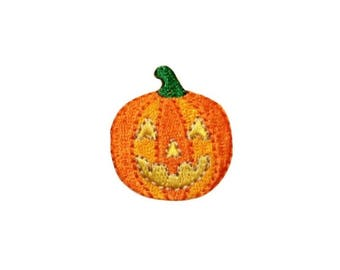 ID 0801B Jack O Lantern Patch Halloween Candy Fall Embroidered Iron On Applique