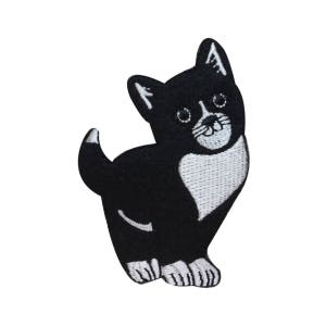 ID 3041A White Fancy Cat Patch Kitten Kitty Cute Embroidered Iron On Applique