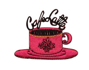 ID 1276B Cafe Latte Coffee Patch Morning Shop Drink Embroidered Iron On Applique