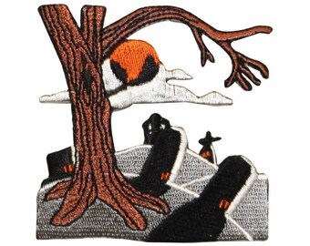 ID 0870Z Graveyard Night Scene Patch Halloween Tree Embroidered Iron On Applique
