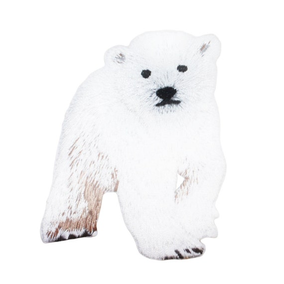Animals White Baby Polar Bear Embroidered Iron On Patch