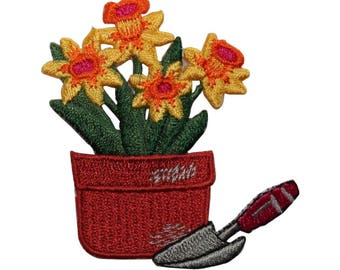 ID 7106 Potted Yellow Daffodils Patch Garden Spade Embroidered Iron On Applique