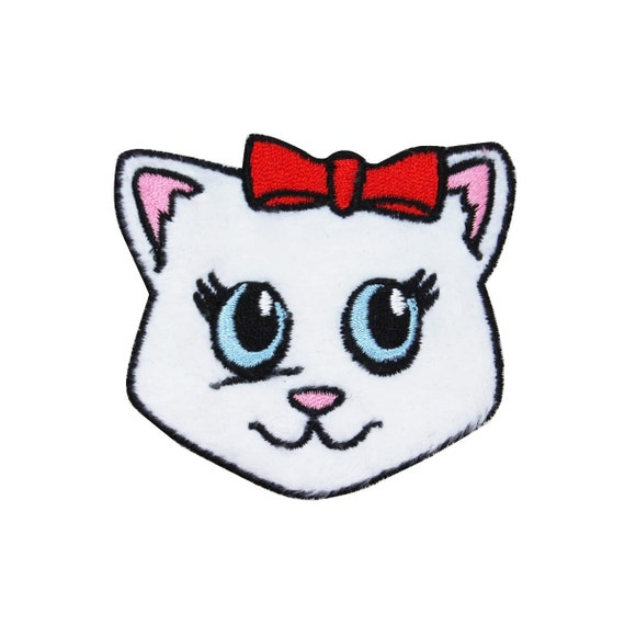 KITTY CAT WHITE KITTEN  7/' Embroidered Iron Sew On Cloth Patch Badge Applique