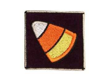 ID 0840A Candy Corn Badge Patch Halloween Bag Tag Embroidered Iron On Applique