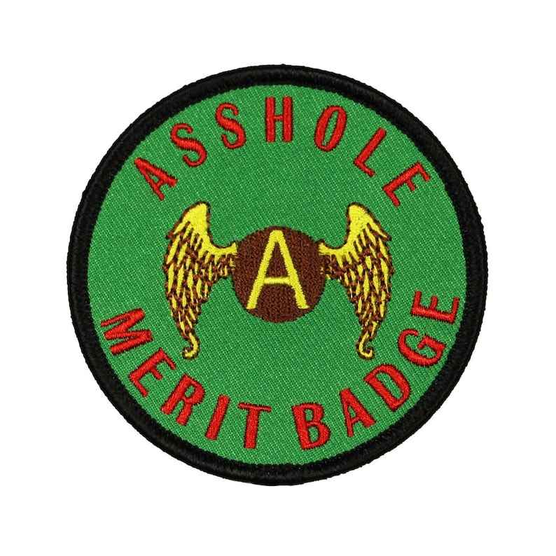 New /'Asshole Meritbadge/' Logo Iron on Sew on patch Applique Badge