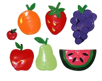 ID 1235A-G Set of 7 Assorted Fruit Patches Summer Snack Vinyl Iron On Applique