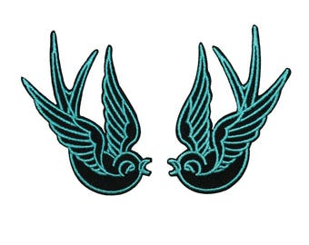 Set of 2 Blue Swallow Bird Patch Tattoo Sparrow Embroidered Iron On Applique