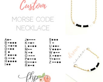 Custom Morse Code Necklace - YOU CHOOSE the Word - Personalized Silver or Gold Necklace - Jewelry Gift for Her- Bestie, Wife, Sister, Nana