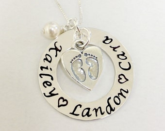 Hand Stamped Mommy Necklace Personalized Jewelry Custom Etsy