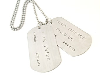 Personalized Dog Tag Necklace - Custom Hand Stamped Set of Stainless Steel Dog Tags - Mens Jewelry - Wedding Daddy Anniversary Couples Gift