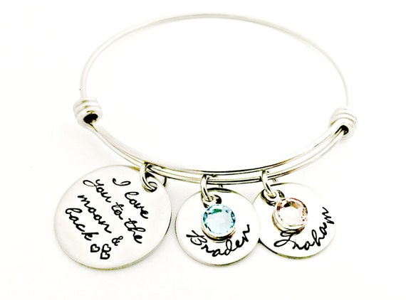 6fa2f2e4ac296 Personalized I Love You To The Moon And Back Adjustable Bracelet - Hand  Stamped Jewelry - Bangle Bracelet - Child Names & Birthstones - Gift