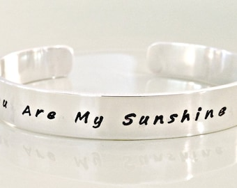 You Are My Sunshine Personalized Sterling Silver Cuff Bracelet - Hand Stamped Secret Message Jewelry - Mommy, Child, Family Cuff - Custom