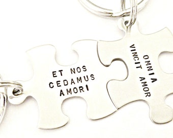 Omnia Vincit Amor Personalized Key Chain Set - Love Conquers All Hand Stamped Puzzle Pieces Set - Custom Couples Wedding Anniversary Gift