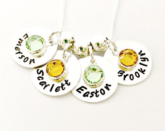 Personalized Mommy Necklace Custom Hand Stamped Jewelry YOU Choose Discs - Names Birthstones Spacer Beads -New Baby Large Family Push Gift