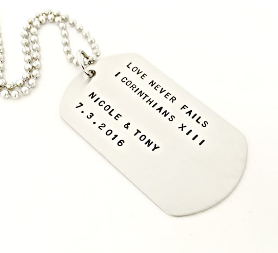 Personalised Stainless Steel Rectangle Necklace Engraved Pendant Army Tags Gift