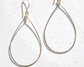 14k Gold-filled Large Teardrop Earrings, Hammered Gold Teardrop Earrings