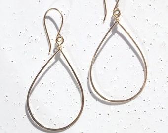 14k Gold-filled Small Teardrop Earrings, Hammered Gold Teardrop Earrings