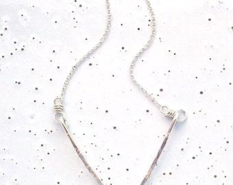 Sterling Silver Medium Textured Chevron Necklace