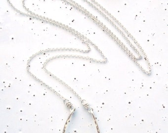 Sterling Silver Small Textured Horseshoe Necklace